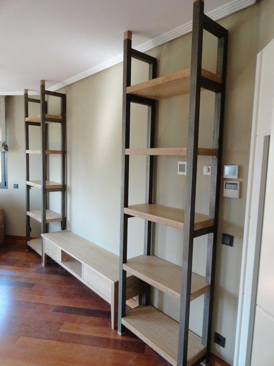 مدل کتابخانه مدرن چوبی فلزی خانگی