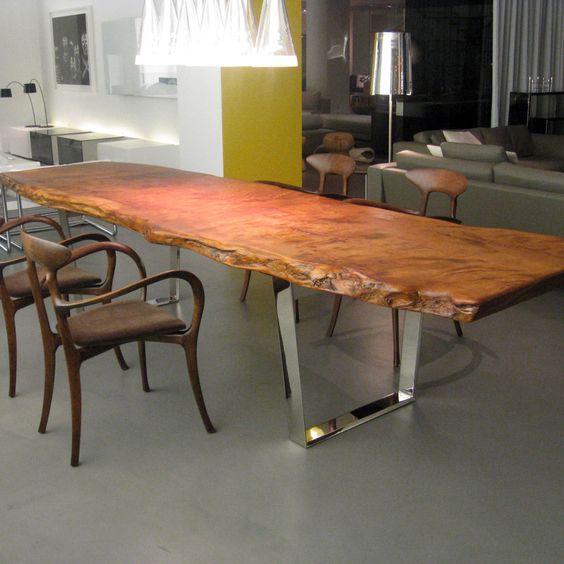 میز ناهارخوری درختی با پایه استیل و فلز