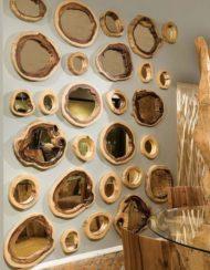 آینه چوبی درختی روستیک