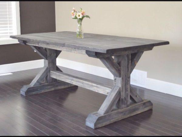 میز ناهارخوری چوبی با پایه ایکس X