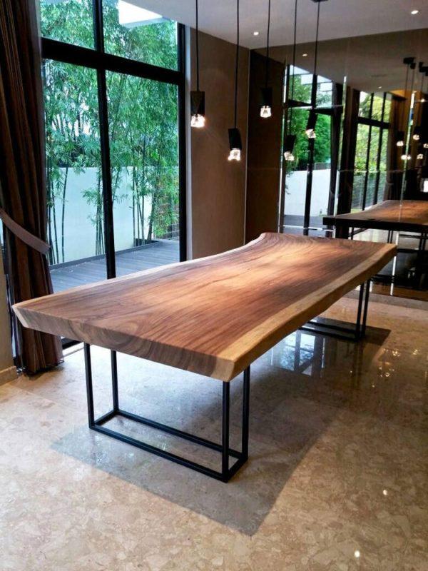 میز ناهار خوری درختی با چوب جنگلی و فرم طبیعی (5)