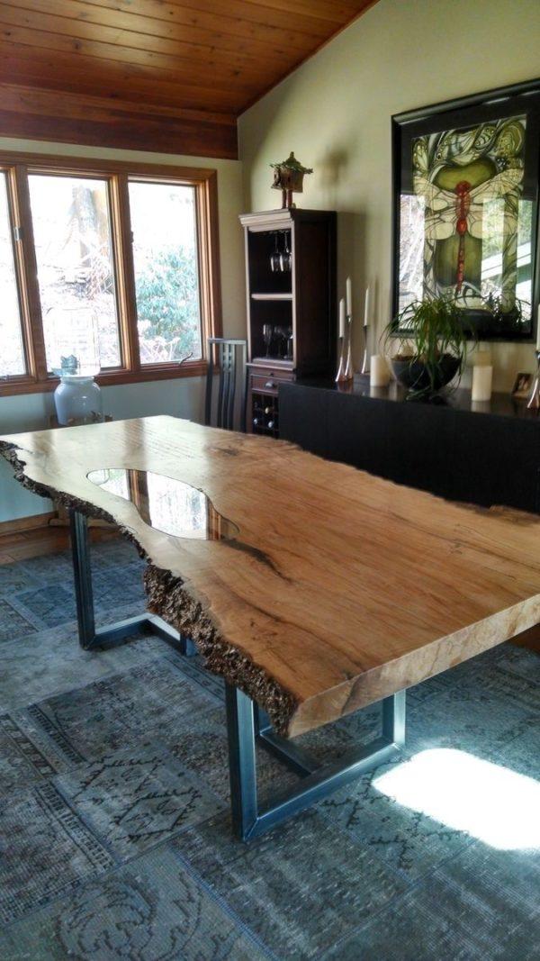 میز غذا خوری صفحه چوبی درختی (6)
