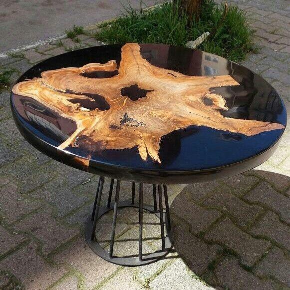 میز عسلی چوب و رزین