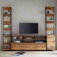 8 نمونه قفسه چوب و فلز مدرن |قفسه چوبی با پایه فلزی
