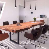 چیدمان خانه با میز ناهار خوری چوبی