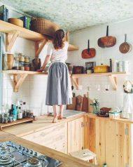 دکوراسیون چوبی آشپزخانه روستیک