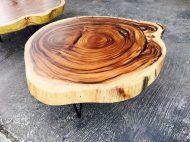 میز جلو مبلی از برش دایره ای درخت