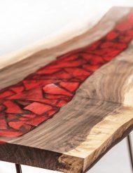 سفارش ساخت میز جلو مبل چوب و رزین اپوکسی