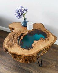 50 مدل میز جلو مبلی ترکیب چوب و رزین