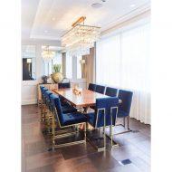 میز ناهار خوری چوبی 8 نفره با پایه طلایی