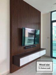 دیزاین دیوار پشت تلویزیون با چوب