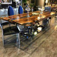 🌟🌟🌟🌟🌟خرید میز ناهار خوری چوبی 8 نفره با پایه استیل