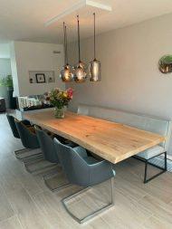 خرید میز ناهار خوری چوبی 6 نفره با پایه استیل